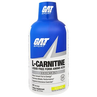 GAT, L-Carnitine, Liquid Free Form Amino Acid, Green Apple, 16 oz (473 ml)