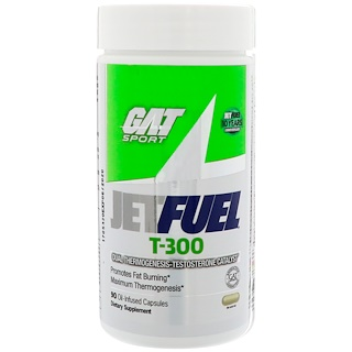 GAT, JetFUEL T-300, Dual Thermogenesis-Testosterone Catalyst, 90 Oil-Infused Capsules
