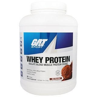 GAT, واي بروتين ، ايزوليت بلند مزيج بروتين العضلات  الأساسي ، الشوكولاته الغنية، 5 رطل (2268 غرام)
