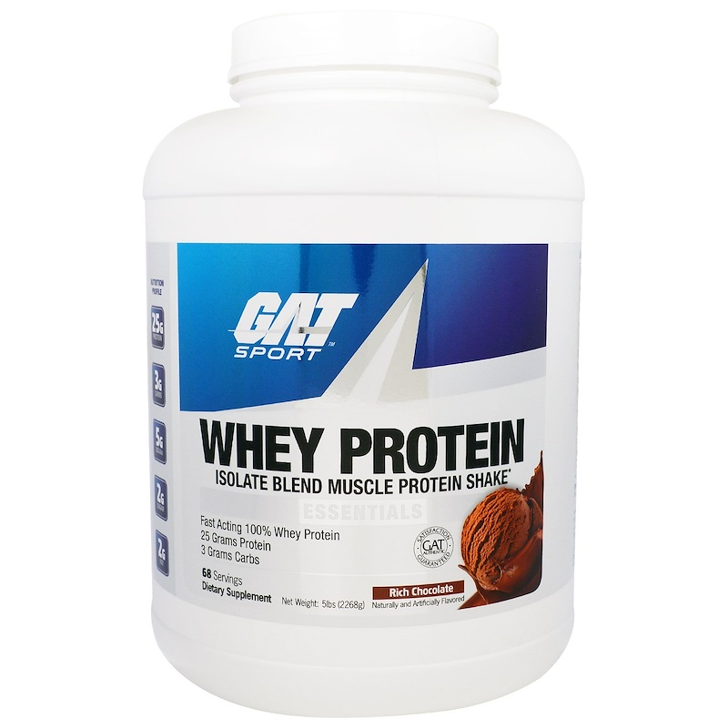 Whey Protein, Isolate Blend Muscle Protein Shake, Essentials, Rich Chocolate, 5 lbs (2268 g)