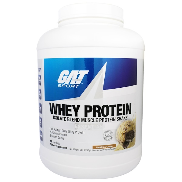 GAT, Whey Protein Isolate Blend Muscle Protein Shake, Cookies & Cream, 5 lbs (2268 g) (Discontinued Item)