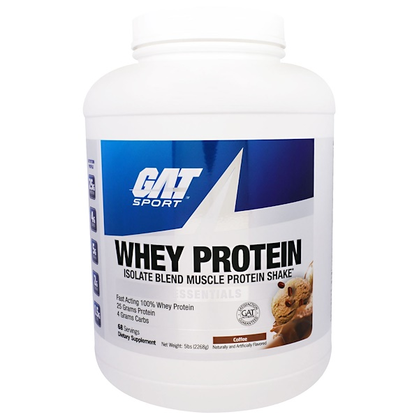 GAT, Whey Protein, Isolate Blend Muscle Protein Shake, Essentials, Coffee, 5 lbs (2268 g) (Discontinued Item)
