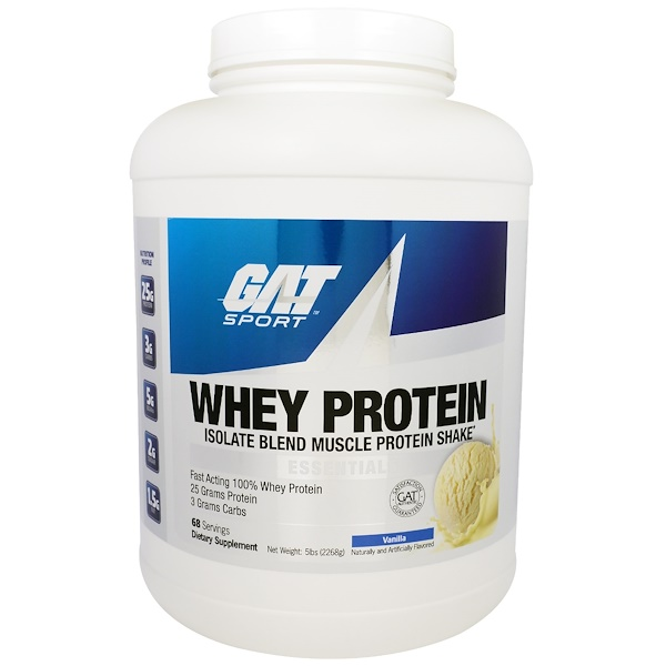GAT, Whey Protein, Isolate Blend Muscle Protein Shake, Vanilla, 5 lbs (2268 g) (Discontinued Item)