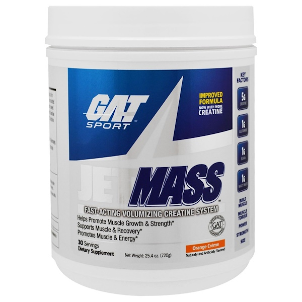 GAT, Sport, JetMass, Volumizing Creatine System, Orange Cream, 25.4 oz (720 g) (Discontinued Item)