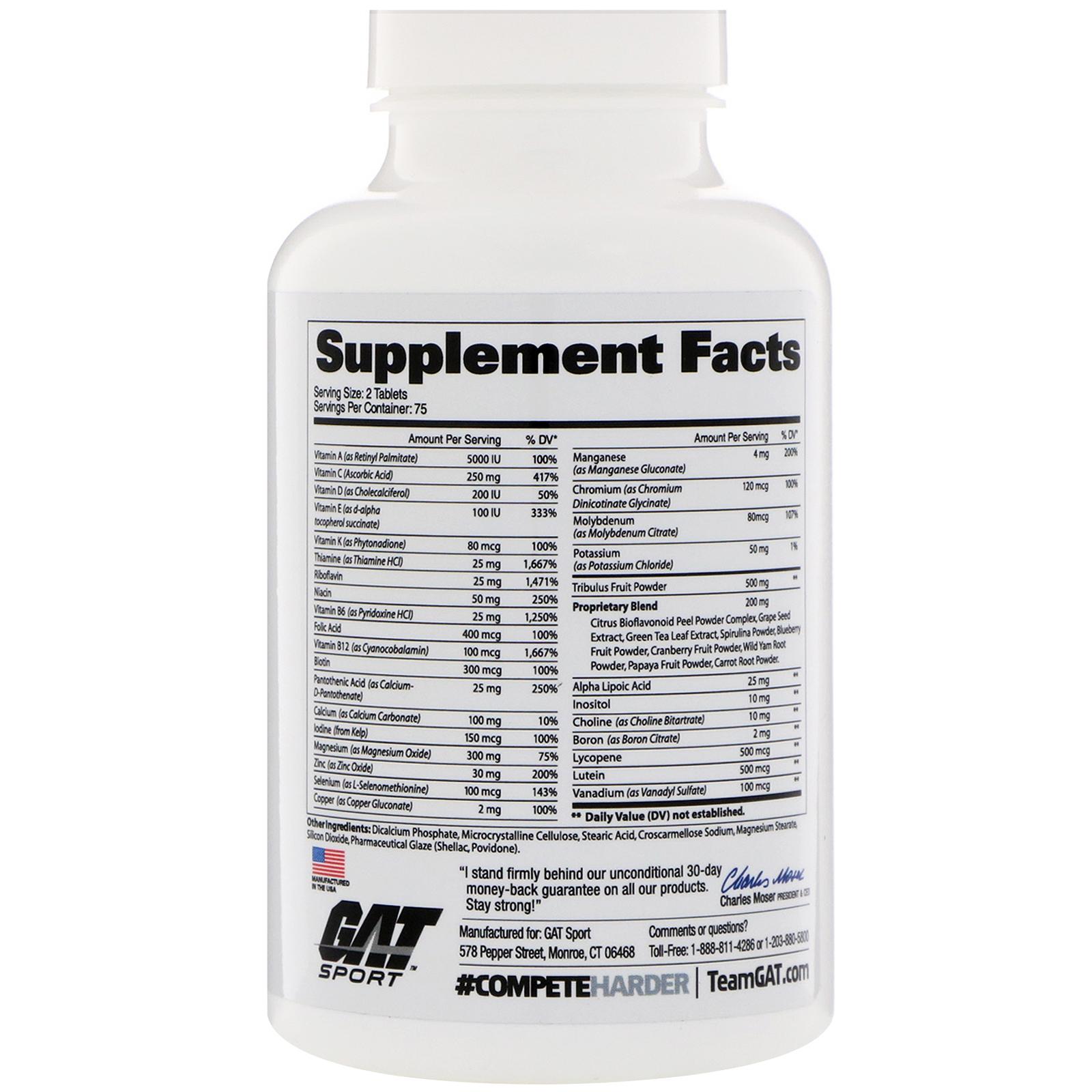 5c54865ba09a52 GAT, Multivitaminas + Testosterona para hombres, 150 tabletas ...