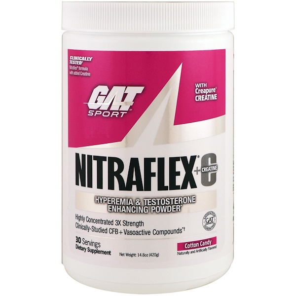 GAT, NITRAFLEX + Creatine, Cotton Candy, 14.8 oz (420 g)