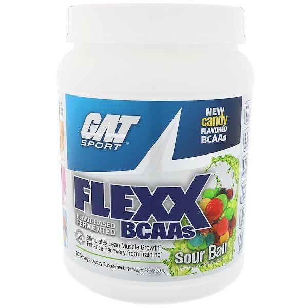 GAT, Flexx BCAAS، Sour Ball ، مقدار 24.3 أوقية (690 جم) (Discontinued Item)
