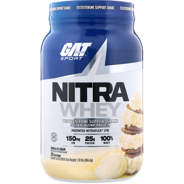 Nitra Whey, Testosterone Support Shake, Vanilla Ice Cream, 1.91 lb (866.4 g)