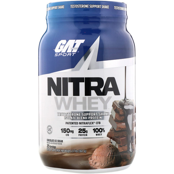 Nitra Whey, Testosterone Support Shake, Chocolate Ice Cream, 2.17 lb (984.3 g)