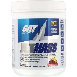 GAT, مكمل JetMASS، نظام كرياتين لزيادة حجم العضلات سريع المفعول، نكهة عصير الليمون بالفراولة، 25 أونصة (708 جم)