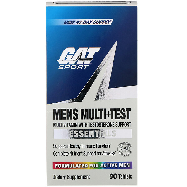 GAT, Men's Multi+Test, Multivitamin with Testosterone Support,  90 Tablets