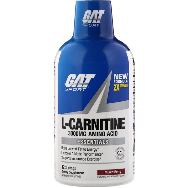 GAT, L-Carnitine, Amino Acid, Mixed Berry, 3,000 mg, 16 oz (473 ml)