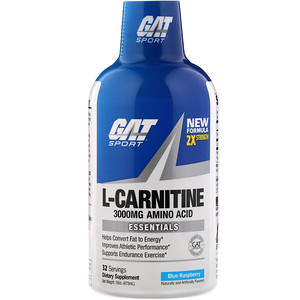 GAT, Liquid L-Carnitine, Blue Raspberry, 3000 mg, 16 oz (473 ml)