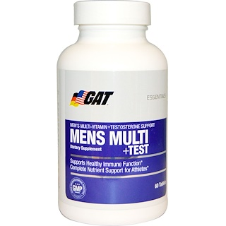 GAT, Essentials Men's Multi + Test, 60 Tablets
