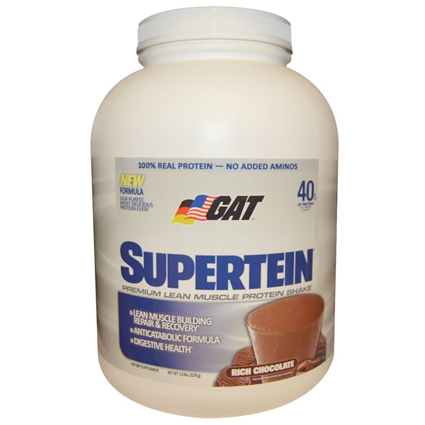 GAT, Supertein, Premium Lean Muscle Protein Shake, Rich Chocolate, 5.0 lbs (2270 g) (Discontinued Item)