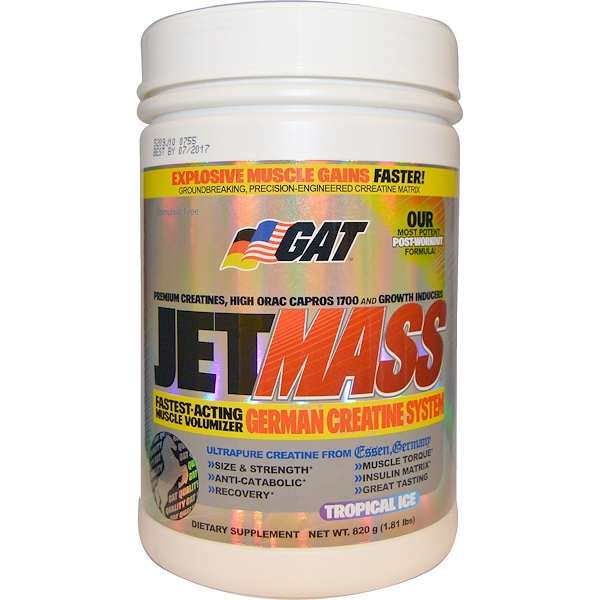 GAT, JetMASS, German Creatine System, Tropical Ice, 1.81 lbs (820 g) (Discontinued Item)