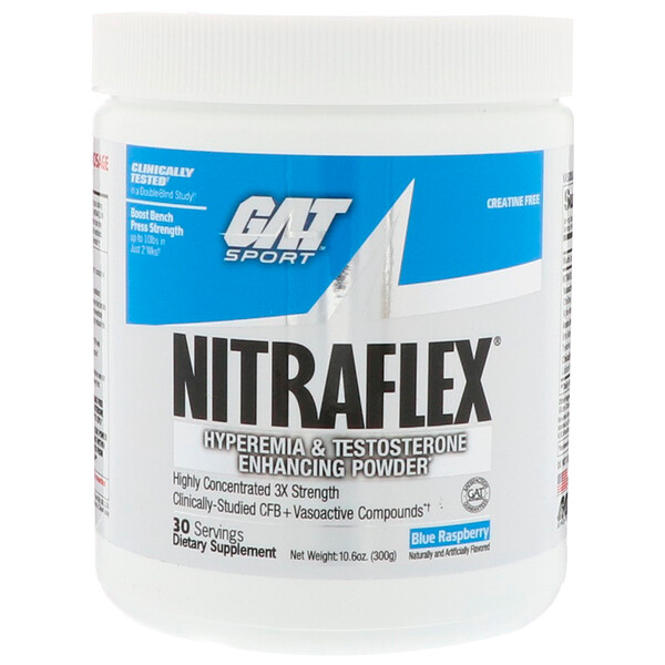 GAT, NITRAFLEX, Blue Raspberry, 10.6 oz (300 g)