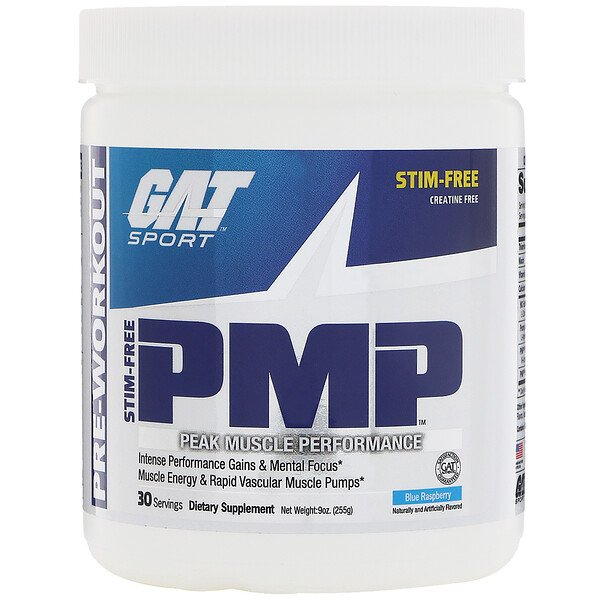 GAT, PMP, Pre-Workout, Peak Muscle Performance, Blue Raspberry, 9 oz (255 g)