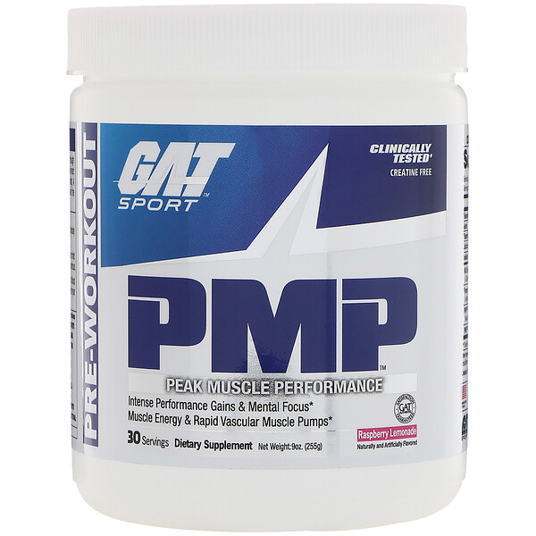 PMP, Pre-Workout, Peak Muscle Performance, Raspberry Lemonade, 9 oz (255 g)