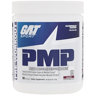 GAT, PMP, Pre-Workout, Peak Muscle Performance, Berry Blast, 9 oz (255 g)