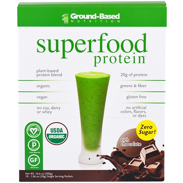 Ground Based Nutrition, Organic Superfood Protein, Rich Chocolate, 10 Packets, 1、06 oz (30 g) Each