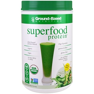 Ground Based Nutrition, Organic Superfood Protein, Natural Unflavored, 18.8 oz (534 g)