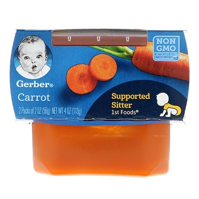 Gerber Carrot, Supported Sitter, 1st Foods, 2 Pack, 2 oz (56 g) Each