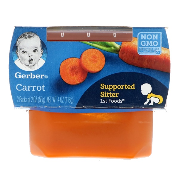 Gerber, Carrot, Supported Sitter, 1st Foods, 2 Pack, 2 oz (56 g) Each