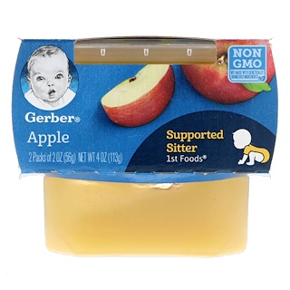 Gerber, ファーストフード、アップル、2袋、各2 oz (56 g)