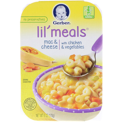 Gerber Lil' Meals, Mac & Cheese, With Chicken & Vegetables, Toddler, 6 oz (170 g)