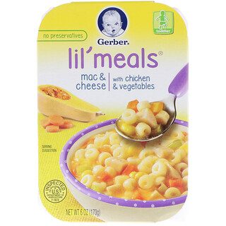 Gerber, Lil' Meals, Mac & Cheese, With Chicken & Vegetables, Toddler, 6 oz (170 g)