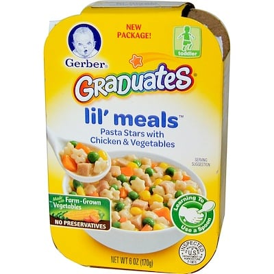 Gerber 學步兒童設計,Lil' Meals,意大利面混合雞肉和蔬菜,6盎司(170克)