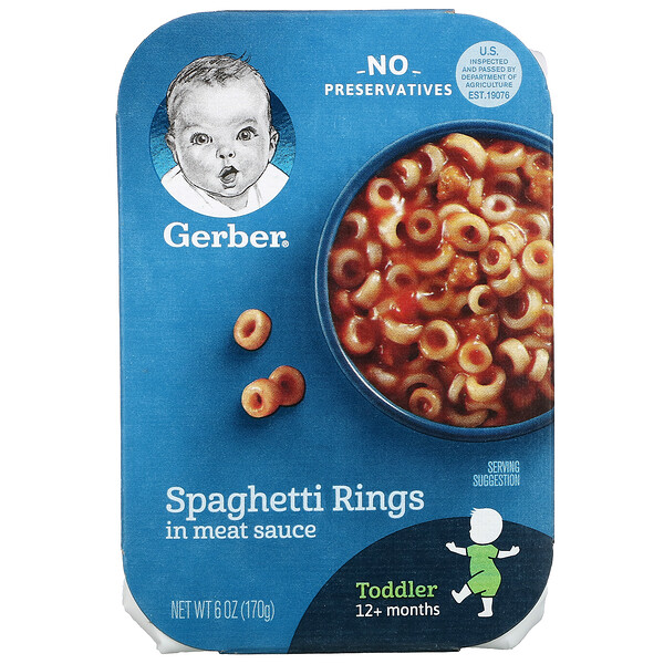 Gerber, Spaghetti Rings in Meat Sauce, Toddler, 12+ Months , 6 oz (170 g)