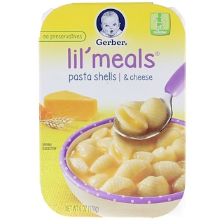 Gerber, Lil' Meals, Pasta Shells & Cheese, 6 oz (170 g)