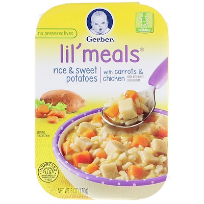 Gerber Lil' Meals, Rice & Sweet Potatoes, With Carrots & Chicken, Toddler, 6 oz (170 g)