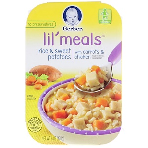 Гербер, Lil' Meals, Rice & Sweet Potatoes, With Carrots & Chicken, Toddler, 6 oz (170 g) отзывы