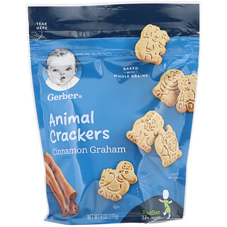 Gerber, Animal Crackers, Cinnamon Graham, Toddler, 12+ Months, 6 oz (170 g)