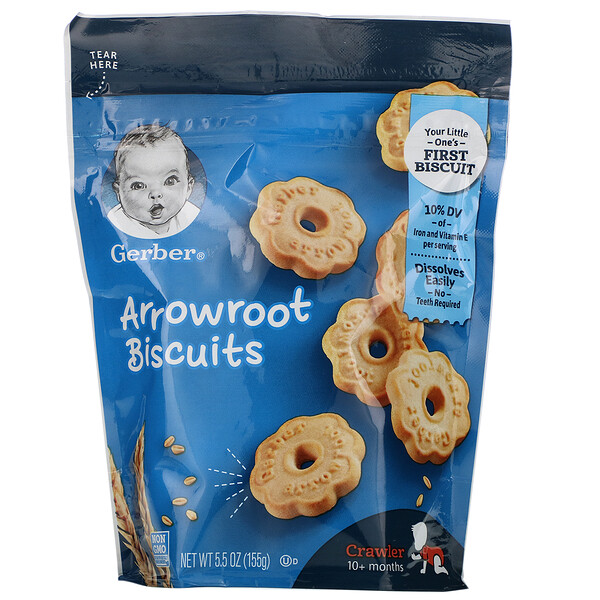 Печенье из аррорута, для малышей от 10месяцев, 155г (5,5унции)