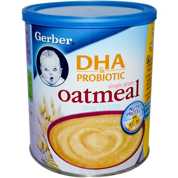 Gerber, DHA & Probiotic, Single Grain Oatmeal Cereal for Baby, 8 oz (227 g) (Discontinued Item)