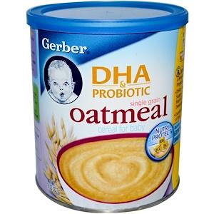 Гербер, DHA & Probiotic, Single Grain Oatmeal Cereal for Baby, 8 oz (227 g) отзывы покупателей
