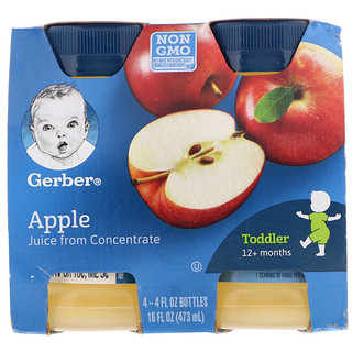 Gerber, Apple Juice, Toddler, 12+ Months, 4 Pack, 4 fl oz (118 ml) Each