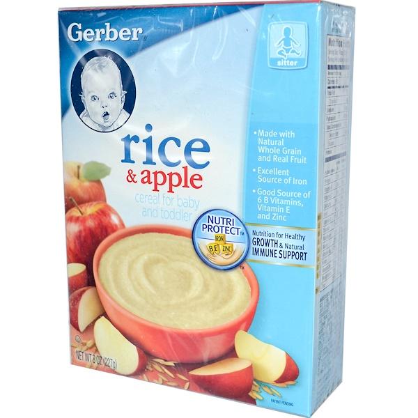 Gerber, Каша для младенцев и маленьких детей, рис и яблоко, 8 унций (227 г) (Discontinued Item)