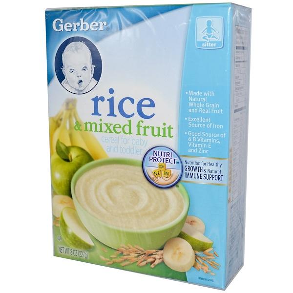 Gerber, Каша для младенцев и маленьких детей, рис и фруктовое ассорти, 8 унций (227 г) (Discontinued Item)
