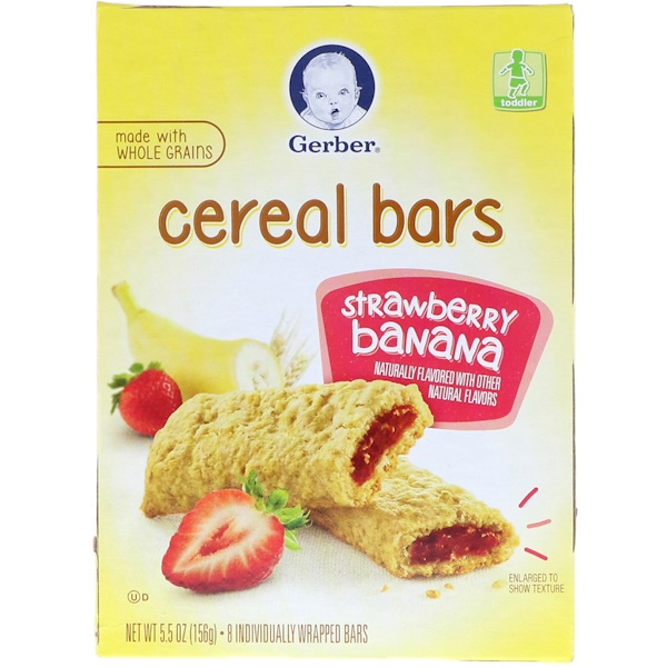Gerber, Cereal Bars, Strawberry Banana, Toddler, 8 Bars, 5.5 oz (156 g)