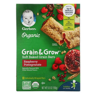 Купить Gerber Organic, Grain & Grow, мягкие запеченные зерновые батончики, от 12месяцев, со вкусом малины и граната, 8батончиков в индивидуальной упаковке