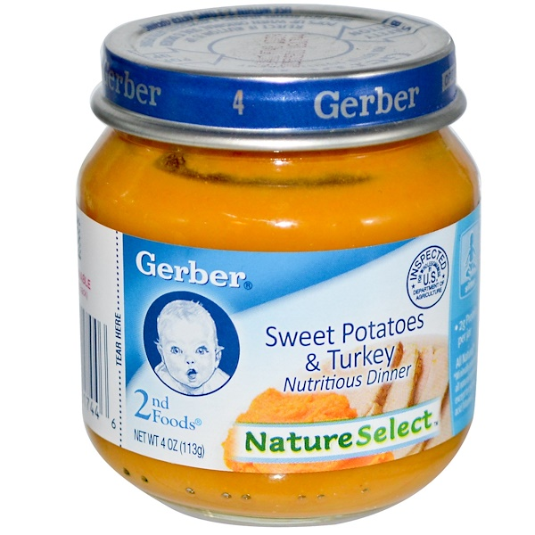 Gerber, 2nd Foods, NatureSelect, Sweet Potatoes & Turkey, 4 oz (113 g) (Discontinued Item)