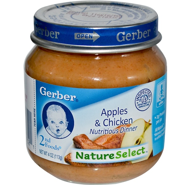 Gerber, 2nd Foods, NatureSelect, Apples & Chicken, Unsalted & Unsweetened, 4 oz (113 g) (Discontinued Item)