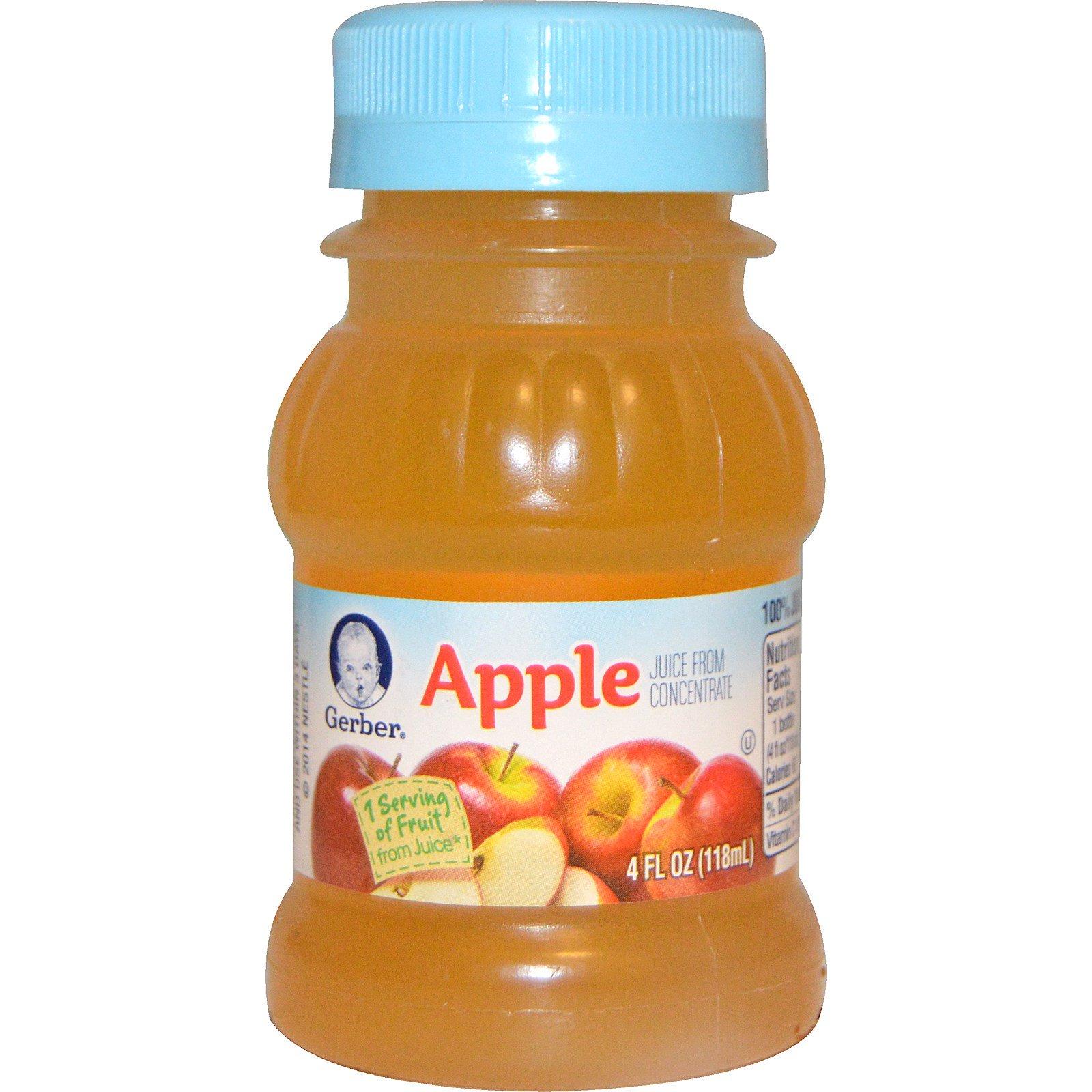 Gerber, 100% сок, яблочный сок, 4 жидкие унции (118 мл)