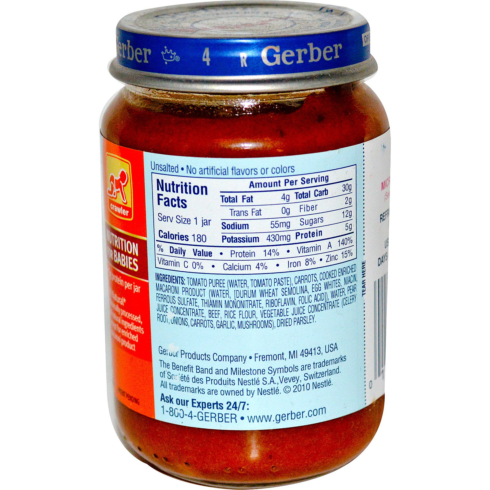 Gerber, 3rd Foods, NatureSelect, Spaghetti Tomato Sauce with Beef ...