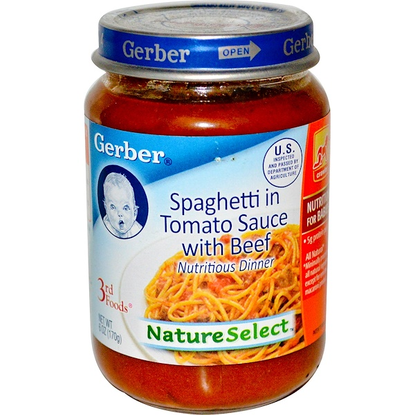 Gerber, 3rd Foods, NatureSelect, Spaghetti Tomato Sauce with Beef, Unsalted, 6 oz (170 g) (Discontinued Item)